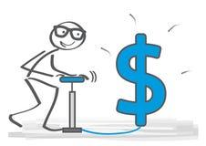 Hombre de negocios con la bomba de aire que mira al futuro dólar s del crecimiento stock de ilustración