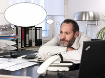 Hombre de negocios con la burbuja del pensamiento Imágenes de archivo libres de regalías