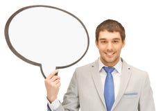 Hombre de negocios con la burbuja en blanco del texto Fotografía de archivo libre de regalías