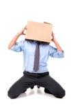 Hombre de negocios con la cabeza de la caja Imagen de archivo