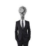 Hombre de negocios con la cabeza de la lámpara fotografía de archivo libre de regalías
