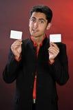 Hombre de negocios con la caja de cuero negra. Imágenes de archivo libres de regalías