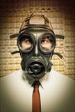 Hombre de negocios con la careta antigás Fotografía de archivo libre de regalías