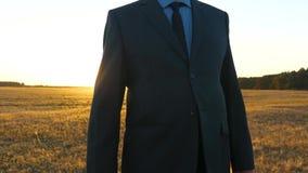 hombre de negocios con la cartera negra que camina a trav?s de campo en rayos del sol brillante El granjero camina a trav?s de ca almacen de metraje de vídeo