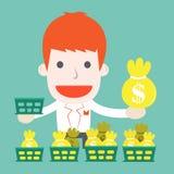 Hombre de negocios con la cesta invertida stock de ilustración