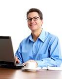 Hombre de negocios con la computadora portátil Fotos de archivo