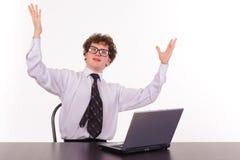 Hombre de negocios con la computadora portátil Fotografía de archivo libre de regalías
