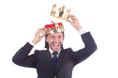 Hombre de negocios con la corona Fotos de archivo