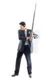 Hombre de negocios con la espada 2 Imágenes de archivo libres de regalías