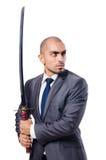 Hombre de negocios con la espada foto de archivo libre de regalías