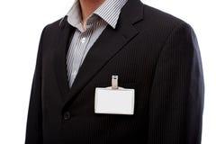 Hombre de negocios con la identificación para poner su texto aquí imágenes de archivo libres de regalías