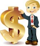 Hombre de negocios con la muestra de dólar Imagen de archivo
