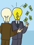 Hombre de negocios con la muestra de dólar brillante de la cabeza de la bombilla Foto de archivo