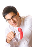 Hombre de negocios con la pluma, aislada Imagen de archivo libre de regalías