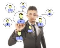 Hombre de negocios con la red en línea de los amigos aislada Fotos de archivo libres de regalías