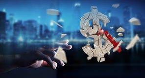 Hombre de negocios con la representación de estallido de la moneda 3D del dólar Fotografía de archivo libre de regalías