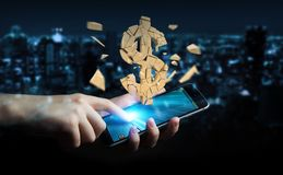 Hombre de negocios con la representación de estallido de la moneda 3D del dólar Foto de archivo libre de regalías