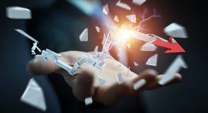 Hombre de negocios con la representación quebrada de la flecha 3D de la crisis Imágenes de archivo libres de regalías