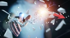 Hombre de negocios con la representación quebrada de la flecha 3D de la crisis Imagen de archivo