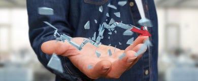 Hombre de negocios con la representación quebrada de la flecha 3D de la crisis Imagen de archivo libre de regalías
