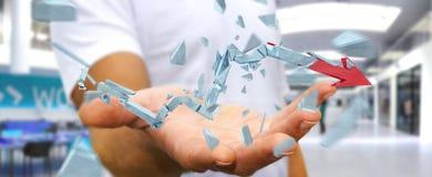 Hombre de negocios con la representación quebrada de la flecha 3D de la crisis Fotos de archivo
