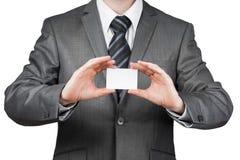 Hombre de negocios con la tarjeta de visita Imagen de archivo libre de regalías