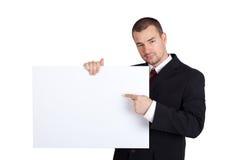 Hombre de negocios con la tarjeta en blanco Foto de archivo