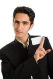 Hombre de negocios con la tarjeta plástica. Fotografía de archivo