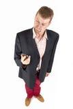 Hombre de negocios con la visión divertida Imagenes de archivo