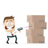 Hombre de negocios con las cajas y PDA del inventario Imagen de archivo