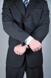 Hombre de negocios con las manos cruzadas Fotos de archivo libres de regalías