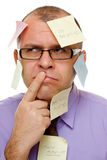 Hombre de negocios con las notas pegajosas Imágenes de archivo libres de regalías