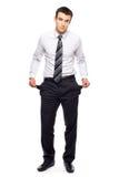 Hombre de negocios con los bolsillos vacíos Fotografía de archivo libre de regalías