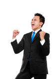 Hombre de negocios con los brazos levantados en éxito fotografía de archivo libre de regalías