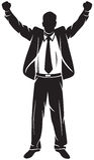 Hombre de negocios con los brazos para arriba Imagenes de archivo