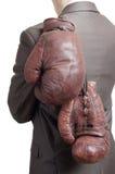 Hombre de negocios con los guantes de boxeo Imagenes de archivo