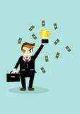 Hombre de negocios con los trofeos y el dinero Imagen de archivo