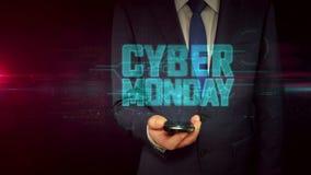 Hombre de negocios con smartphone y concepto cibernético del holograma de lunes
