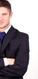 Hombre de negocios con sus brazos plegables Fotos de archivo