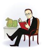 Hombre de negocios con un libro cerca de la tabla con el dinero Foto de archivo