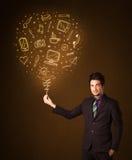 Hombre de negocios con un medios globo social Foto de archivo libre de regalías