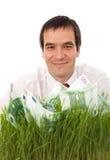 Hombre de negocios con un plan empresarial verde Fotografía de archivo