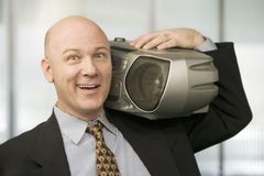 Hombre de negocios con un rectángulo de auge fotos de archivo libres de regalías