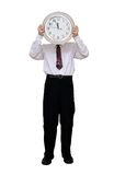Hombre de negocios con un reloj en vez de una cabeza Fotografía de archivo libre de regalías