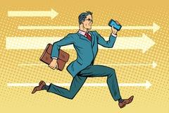 Hombre de negocios con un smartphone que corre delantero rápido ilustración del vector