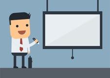 Hombre de negocios con un whiteboard stock de ilustración