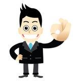Hombre de negocios con una AUTORIZACIÓN del gesto del finger Imagen de archivo