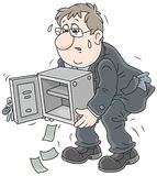 Hombre de negocios con una caja fuerte vacía Fotos de archivo libres de regalías