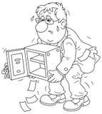 Hombre de negocios con una caja fuerte vacía Imagenes de archivo