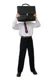 Hombre de negocios con una cartera en vez de una cabeza Foto de archivo libre de regalías